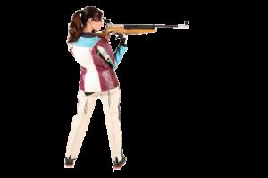 Frau zielt mit Gewehr